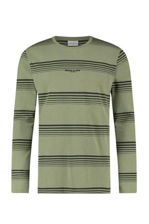 gestreept T-shirt groen/zwart