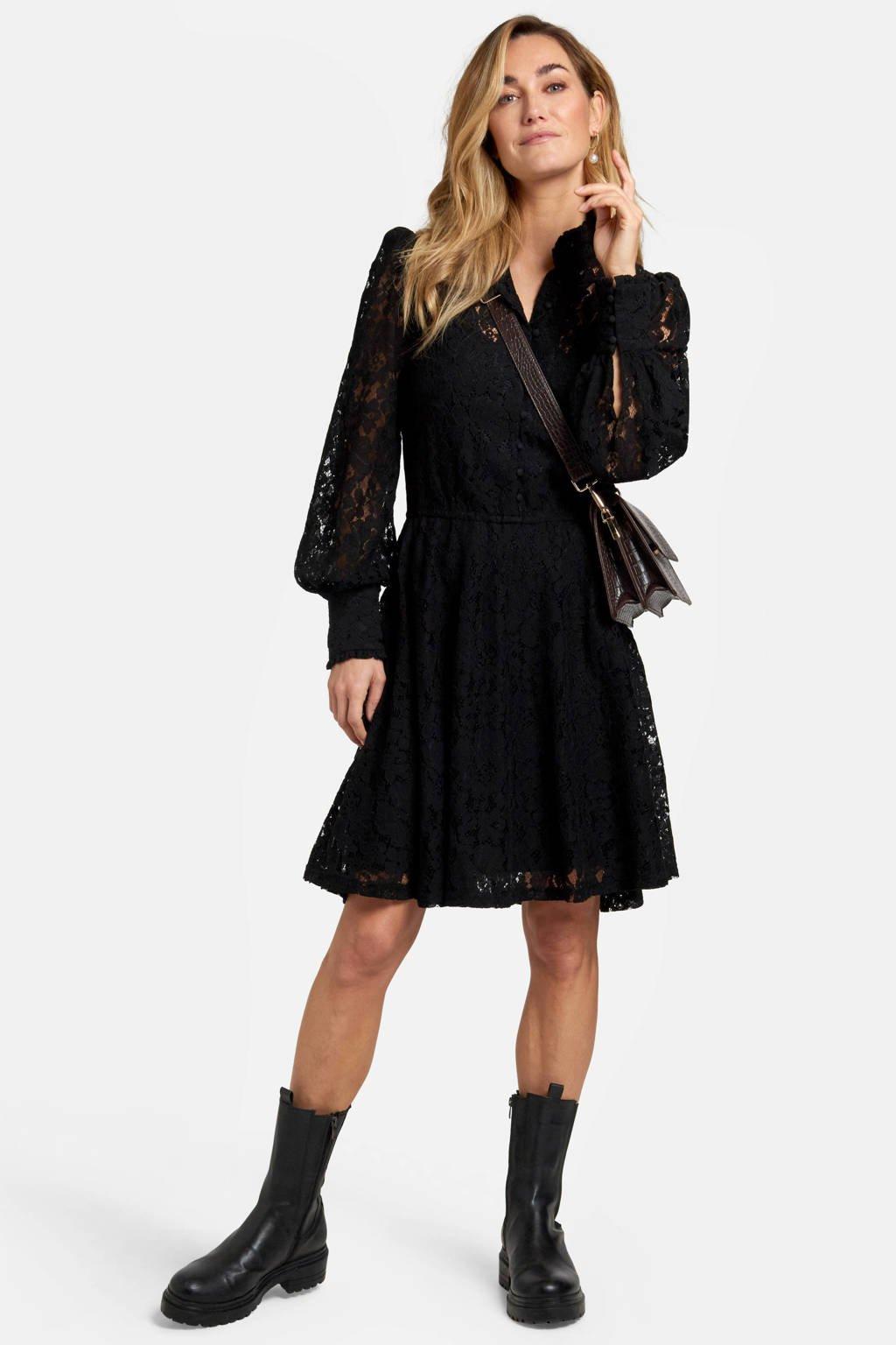 Eksept by Shoeby blousejurk met kant zwart, Zwart