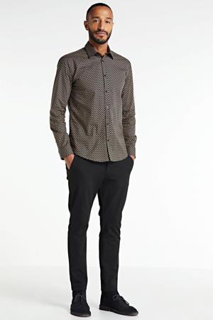 slim fit overhemd Regmoth van biologisch katoen zwart/beige