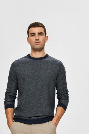 gemêleerde trui Jefferson van biologisch katoen donkerblauw