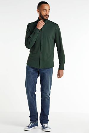 slim fit overhemd met biologisch katoen donkergroen