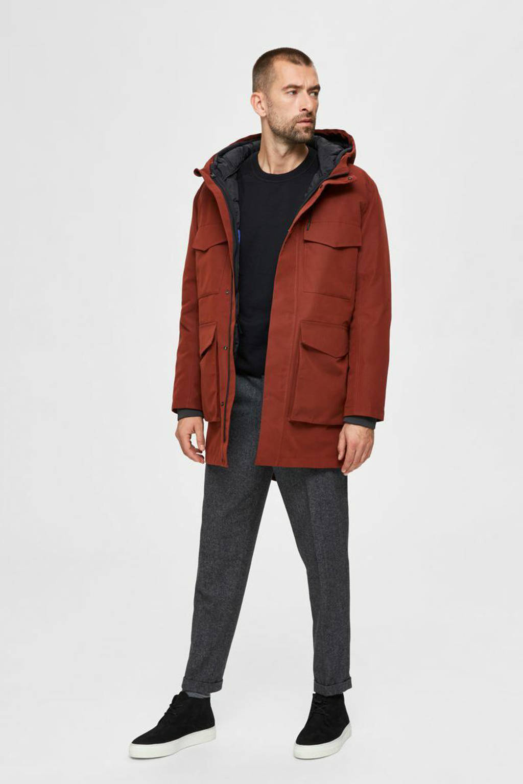 SELECTED HOMME parka donkerrood, Donkerrood