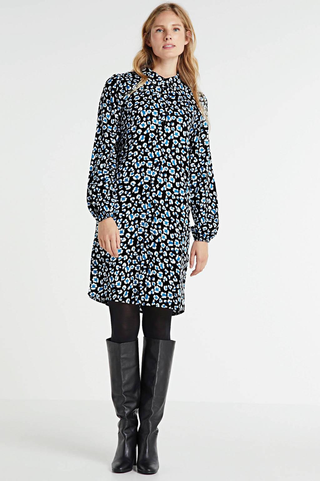 anytime blousejurk met panterprint print blauw/zwart, Zwart/blauw