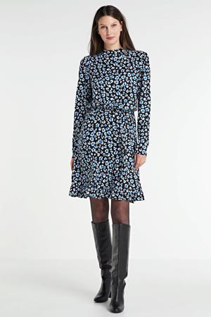 jurk met all over print blauw/zwart/wit