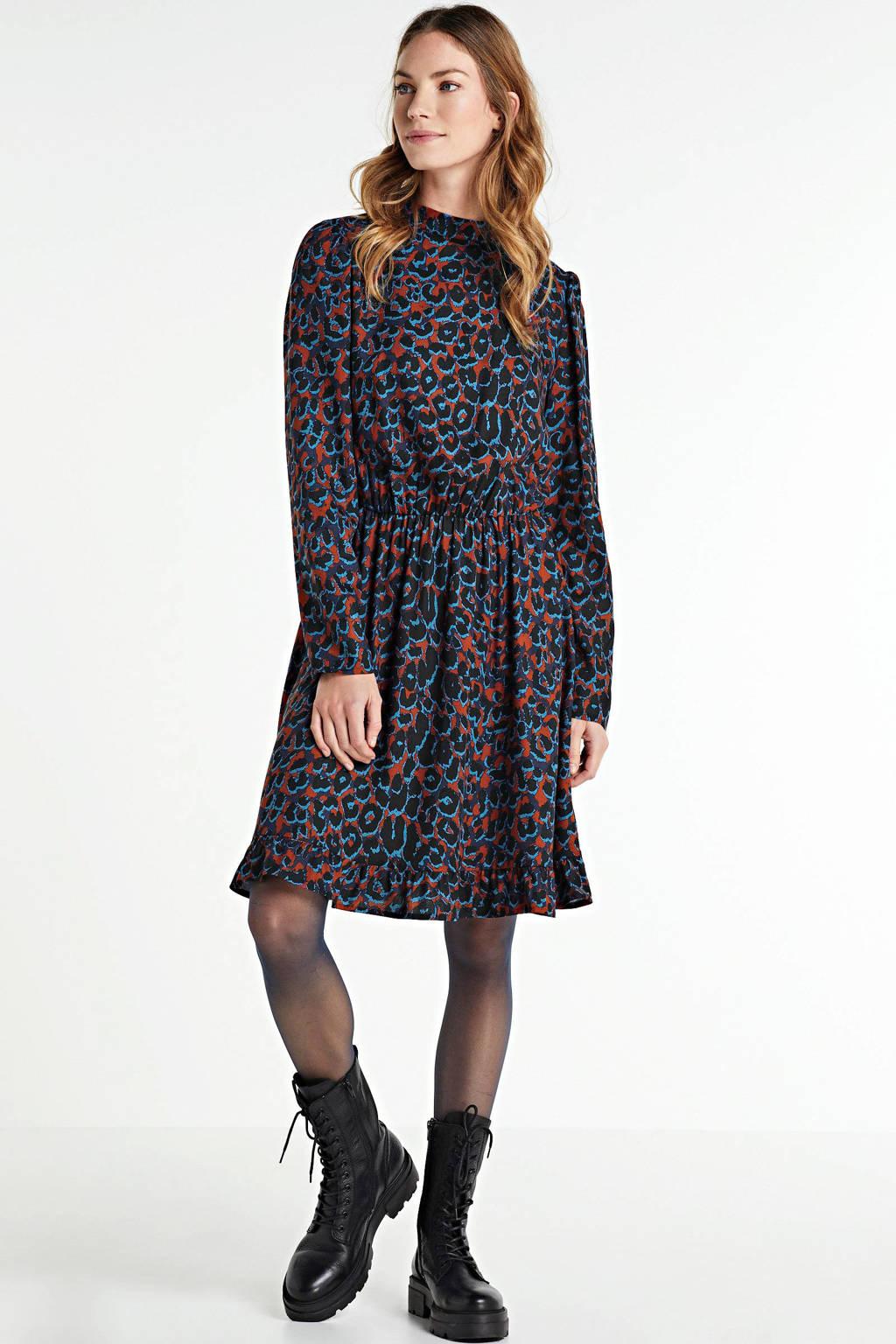 anytime jurk met all over print blauw/rood, Zwart/rood