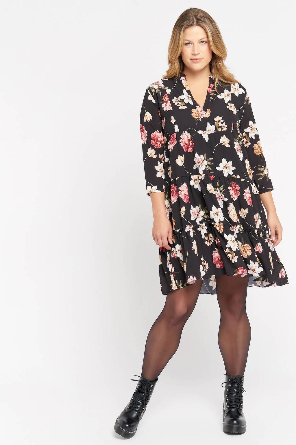 LOLALIZA gebloemde jurk zwart/roze, Zwart/roze