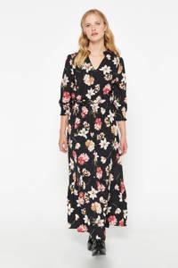 LOLALIZA gebloemde maxi jurk zwart/roze, Zwart/roze