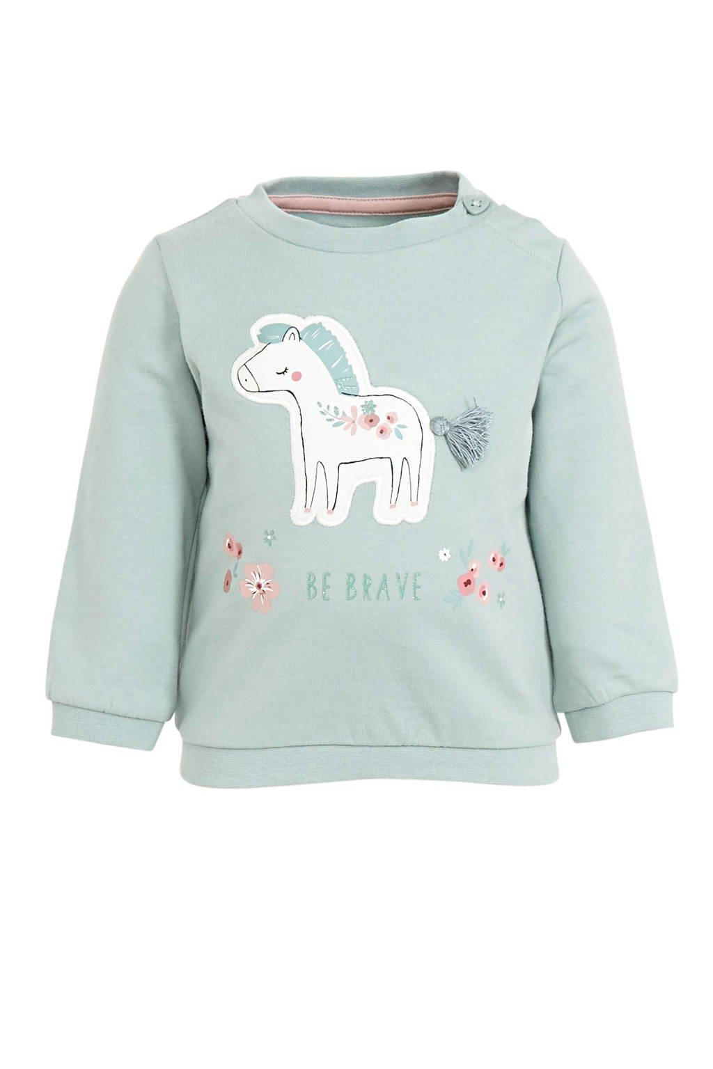 C&A Baby Club baby sweater met printopdruk en 3D applicatie lichtgroen, Lichtgroen