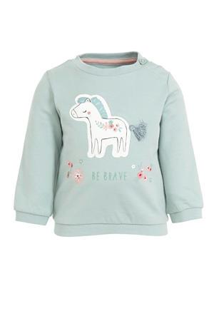 baby sweater met printopdruk en 3D applicatie lichtgroen