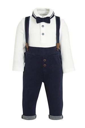 polo met strik + broek donkerblauw/wit