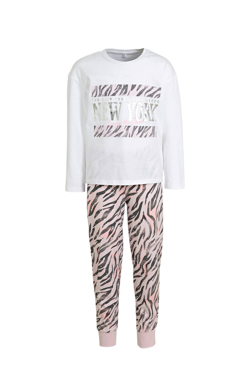 C&A Here & There pyjama all over print wit/beige, Wit
