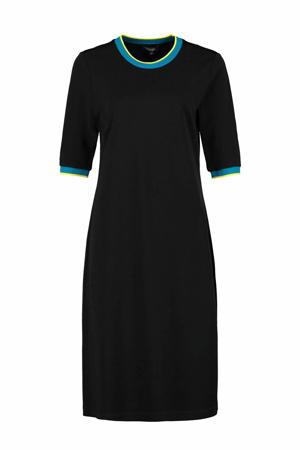 jurk met contrastbies zwart