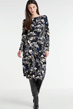 jurk met all over print zwart/blauw/wit