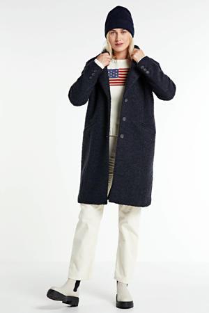 boucle coat met wol zwart