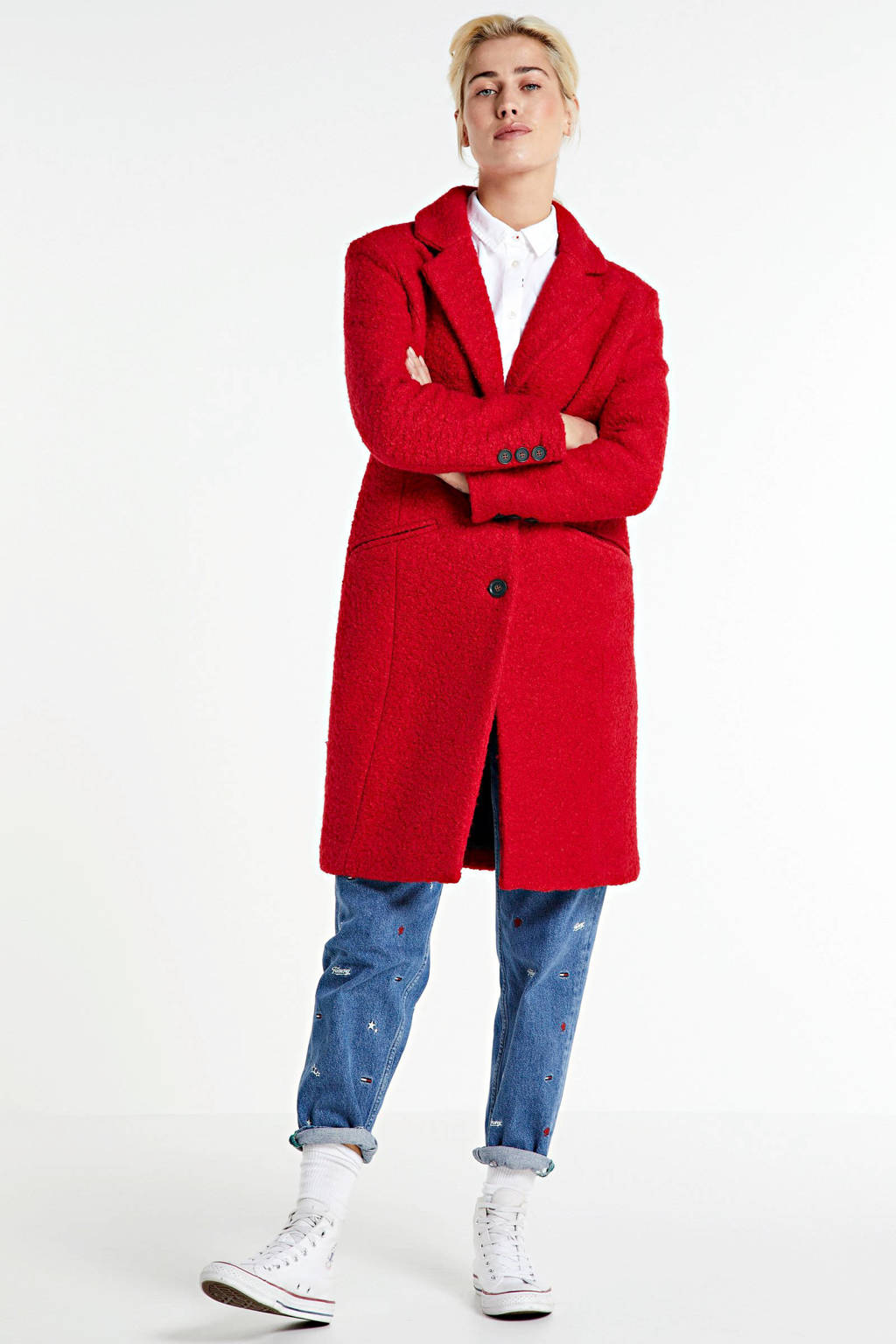 anytime boucle coat met wol rood, Rood
