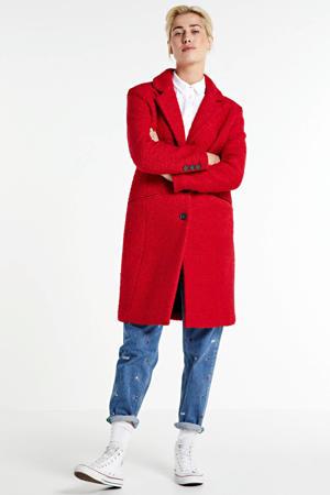 boucle coat met wol rood