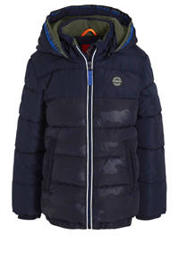 s.Oliver gewatteerde winterjas met camouflageprint donkerblauw, Donkerblauw