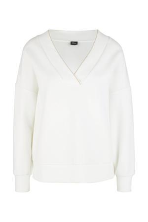fijngebreide trui met glitters wit/goud