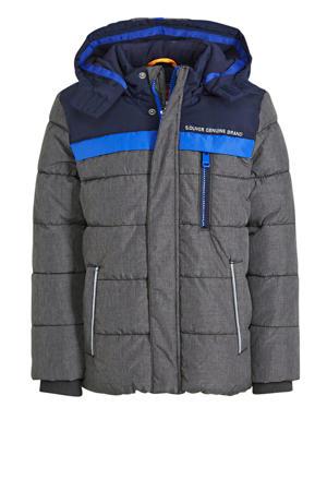 gewatteerde winterjas antraciet/donkerblauw/blauw