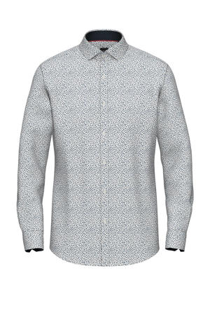 slim fit denim overhemd met all over print wit/donkerblauw