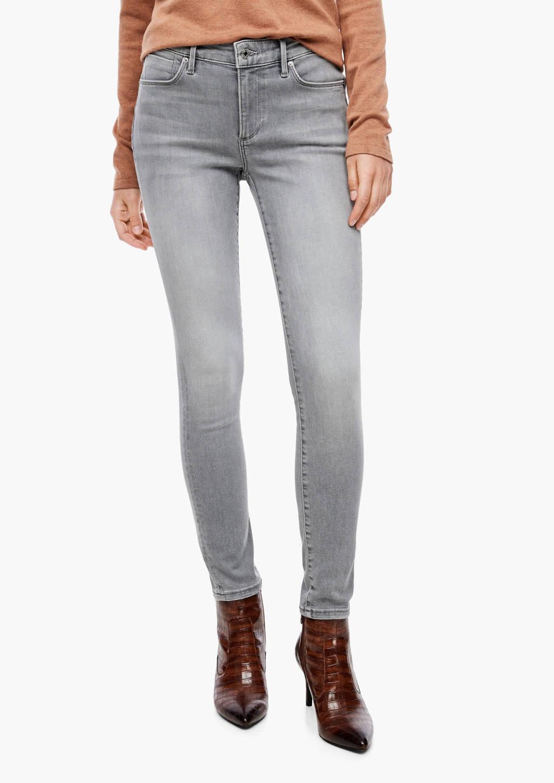 s.Oliver BLACK LABEL coated skinny jeans lichtgrijs, Lichtgrijs