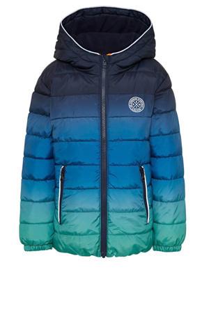 gewatteerde winterjas donkerblauw/blauw/groen