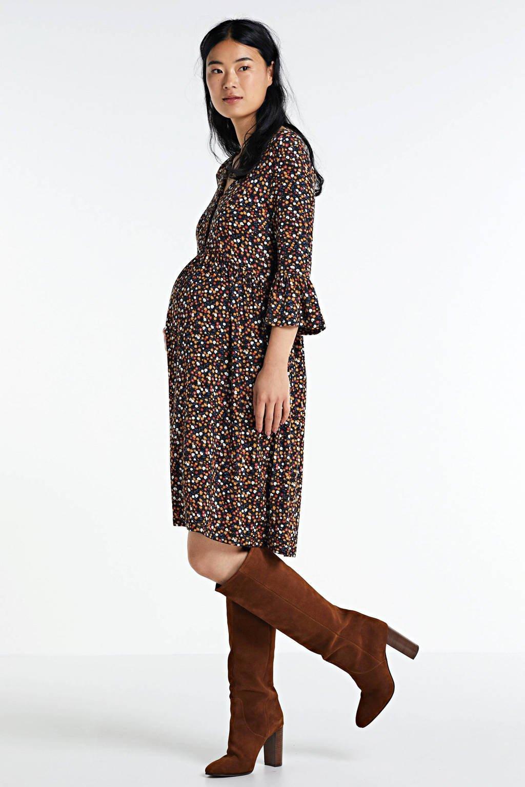 MAMALICIOUS zwangerschapsjurk Ana lia met all over print en plooien zwart/rood/okergeel, Zwart/rood/okergeel
