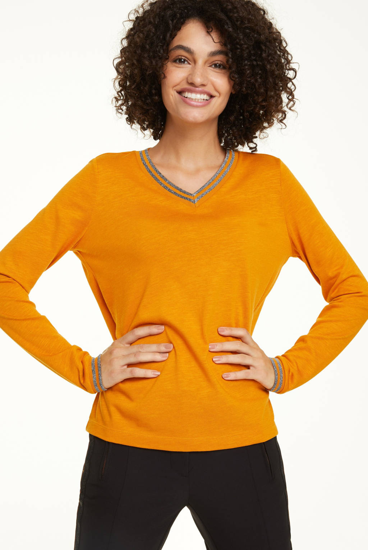 comma casual identity trui met glitters oranje, Oranje