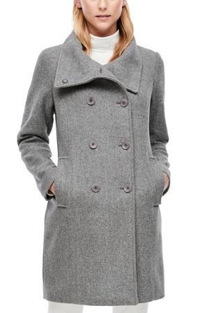 coat met wol grijs gemêleerd