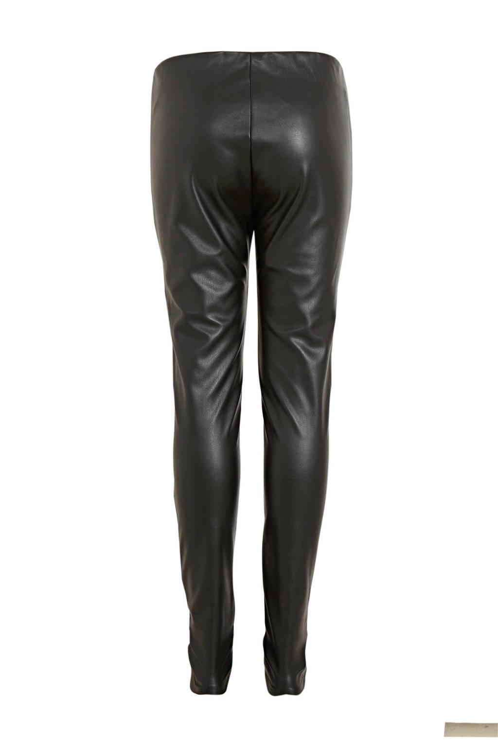 s.Oliver imitatieleren legging zwart, Zwart