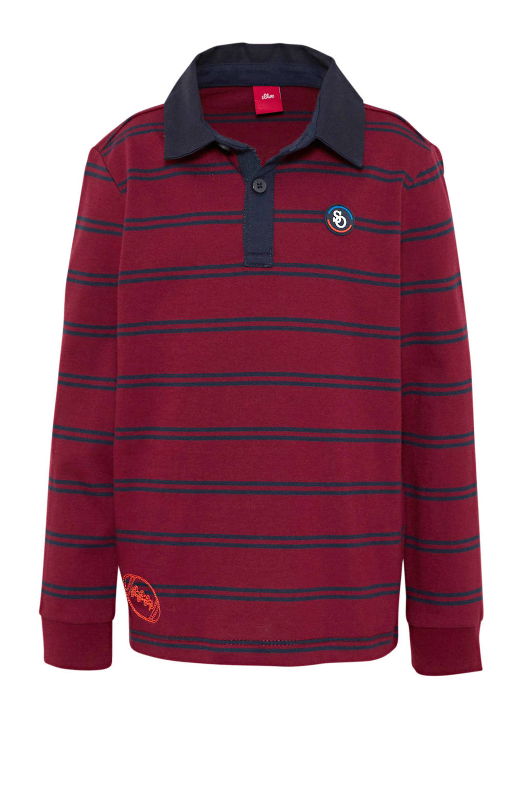 s.Oliver gestreepte polo donkerrood/donkerblauw, Donkerrood/donkerblauw
