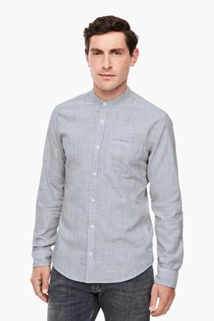 gemêleerd slim fit overhemd donkerblauw/wit