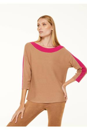 gebreide trui camel/roze