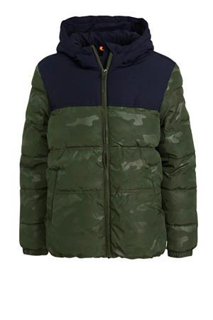 gewatteerde winterjas met camouflageprint donkergroen/donkerblauw