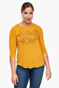 TRIANGLE T-shirt met printopdruk geel, Geel