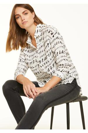 blouse met tekst ecru/zwart