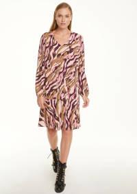 comma jurk met all over print en plooien roze, Roze
