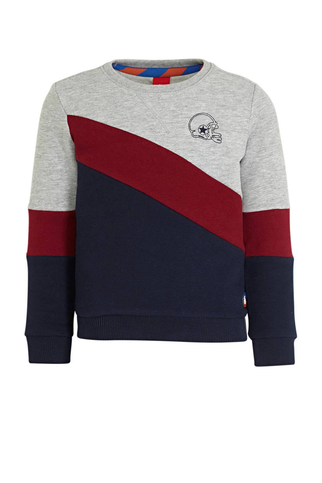 s.Oliver sweater donkerblauw/grijs melange/rood