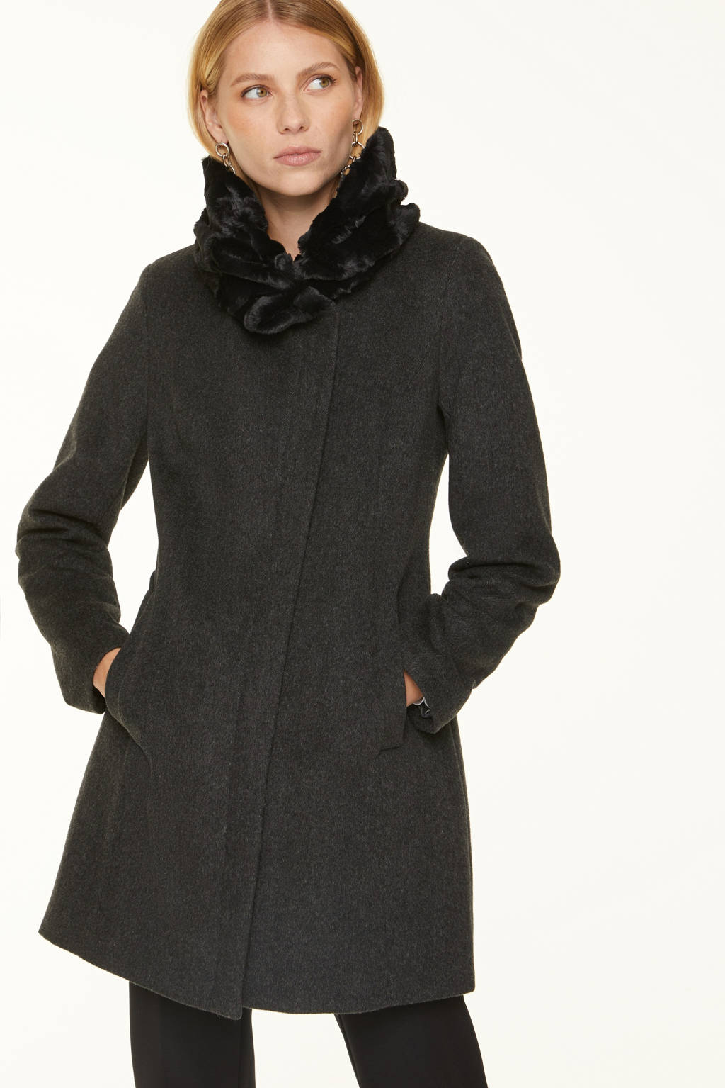 comma coat met wol antraciet, Antraciet