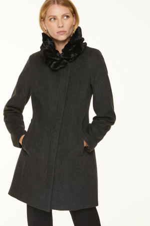 coat met wol antraciet
