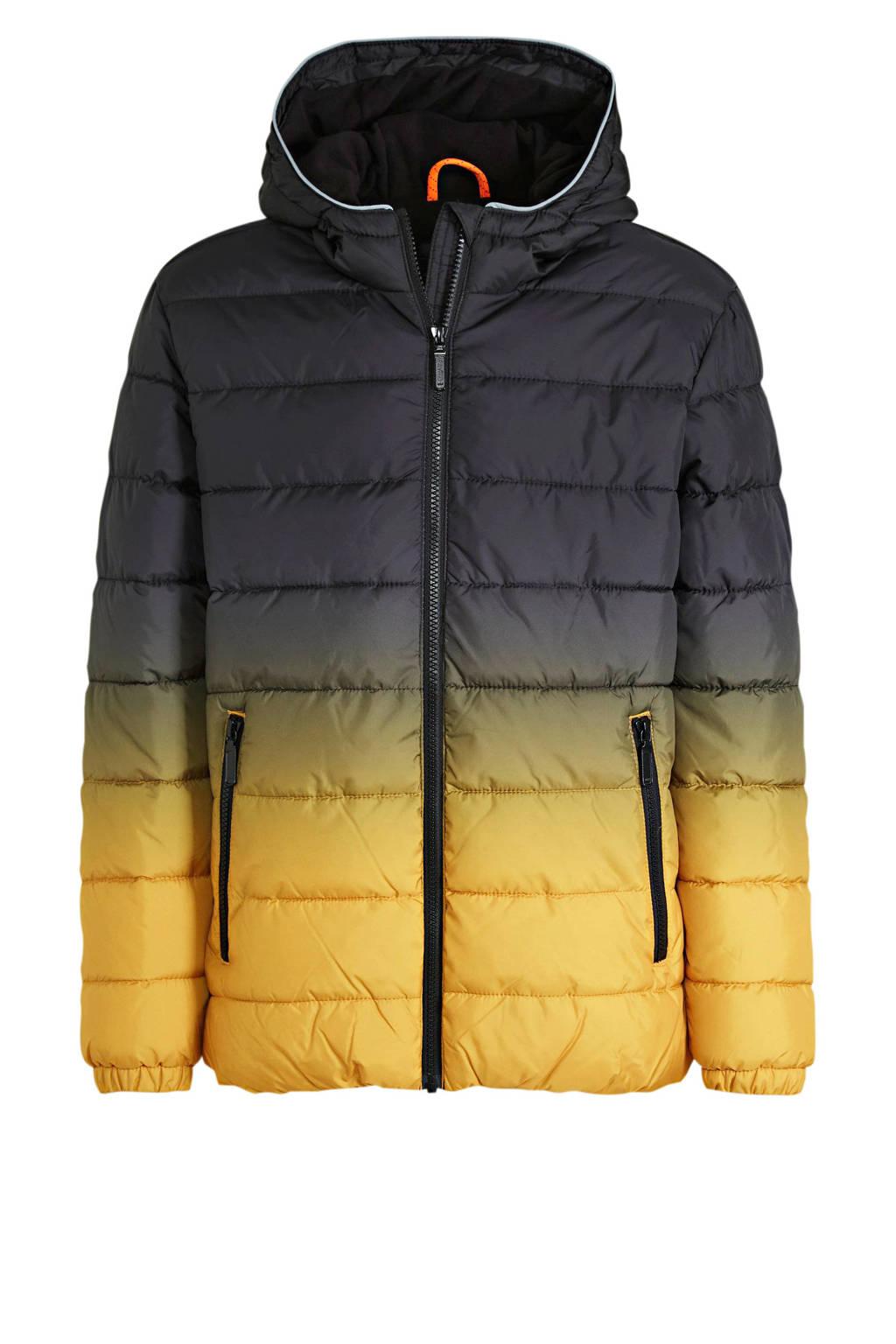 s.Oliver gewatteerde winterjas zwart/geel, Zwart/geel