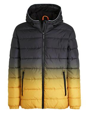 gewatteerde winterjas zwart/geel