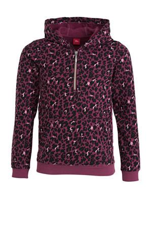 hoodie met all over print fuchsia/zwart