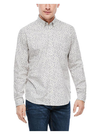 regular fit overhemd met all over print ecru
