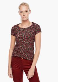 Q/S designed by gebloemd T-shirt zwart/rood/groen, Zwart/rood/groen