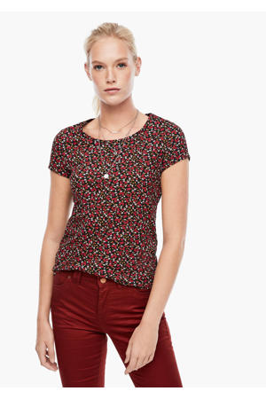 gebloemd T-shirt zwart/rood/groen