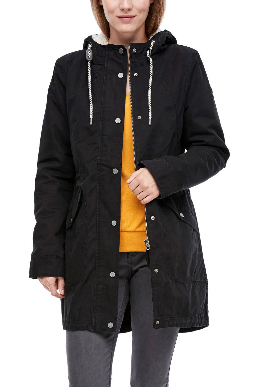 Q/S designed by parka jas zwart met teddy voering, Zwart