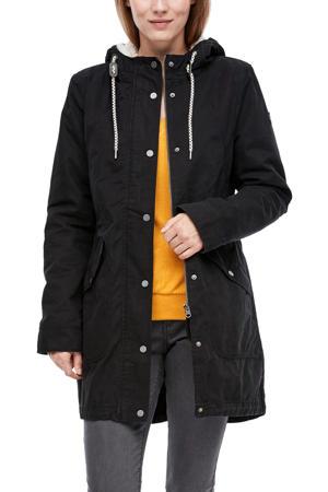 parka jas zwart met teddy voering