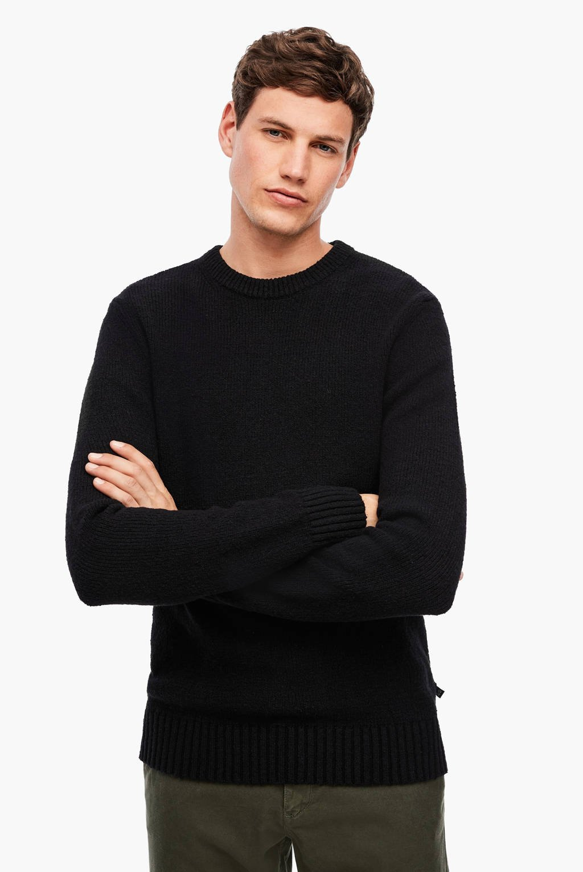 Q/S designed by slim fit trui zwart, Zwart