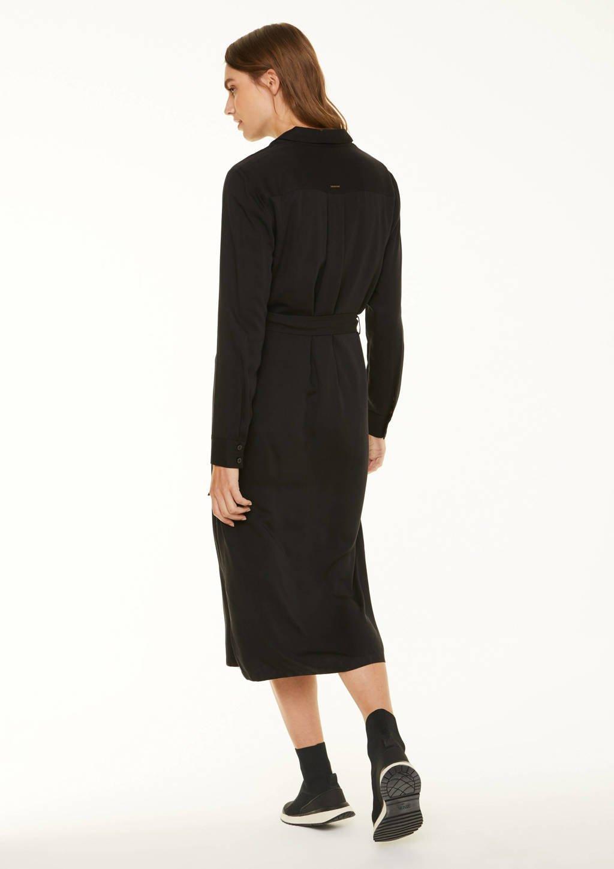 comma casual identity blousejurk met ceintuur zwart, Zwart